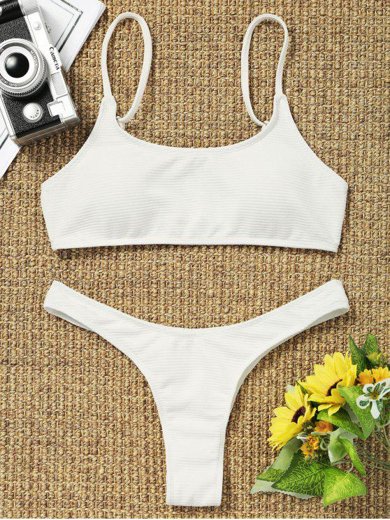 women High Cut Thong Bikini - WHITE M