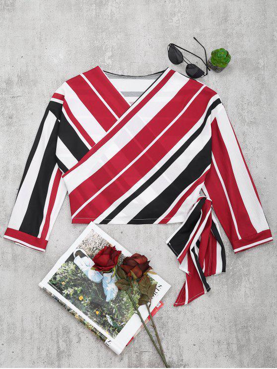 sale V Neck Striped Crop Wrap Blouse - RED L