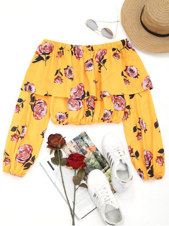 women Off Shoulder Flounce Floral Crop Blouse - FLORAL S