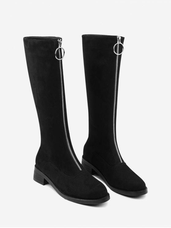 Front Zipper Chunky Heel Mid Calf Boots - Preto 37