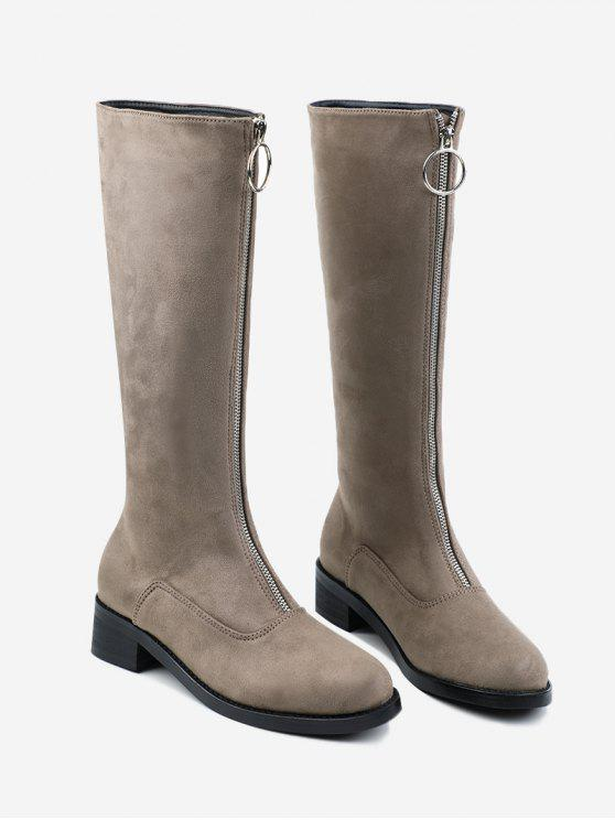 Zaful Front Zipper Chunky Heel Mid Calf Boots 4iVC3x7