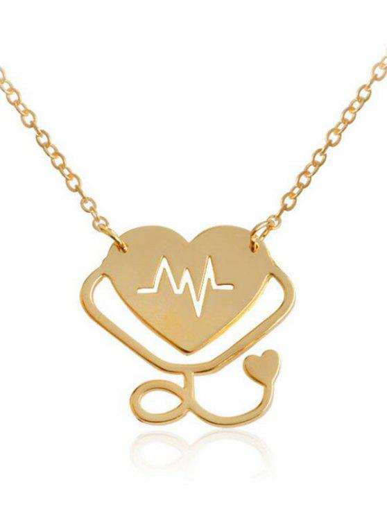 best Valentine's Day Heart Rate Chart Design Pendant Necklace - GOLDEN