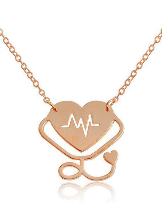 Collier pendentif design graphique de la Saint-Valentin - Or Rose