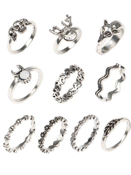 buy Punk Skull Metal Rings Set - COLORMIX ONE-SIZE