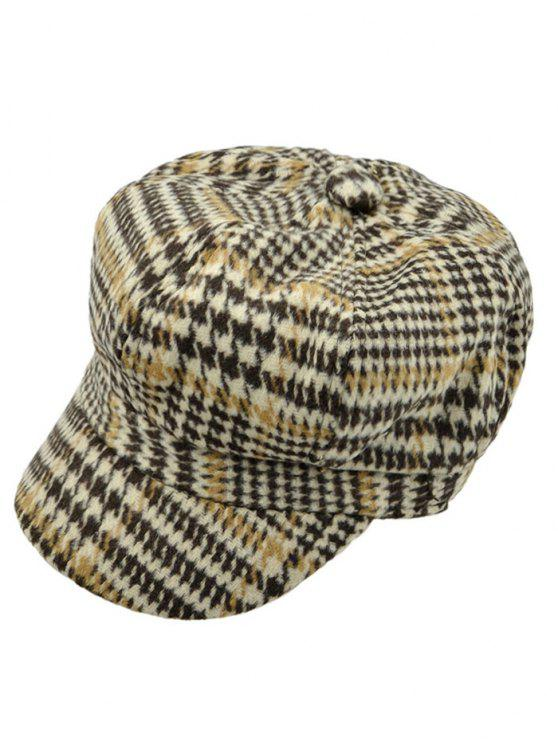 Houndstooth Newsboy Hat - Caqui