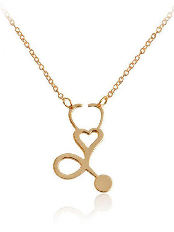 Collier avec Pendentif Design Cœur en Métal à Sculpture Creuse - Or