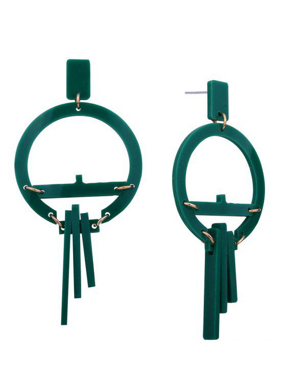 Pendientes redondos geométricos de resina - Verde