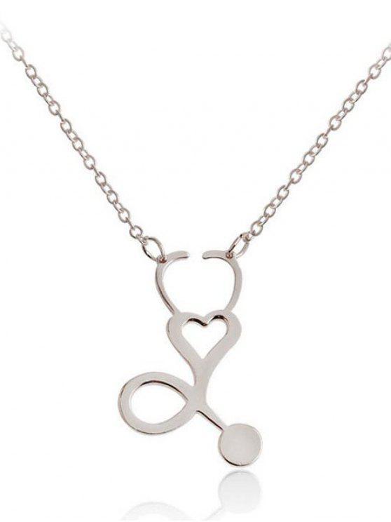 Metall aushöhlen Herz Design Anhänger Halskette - silber