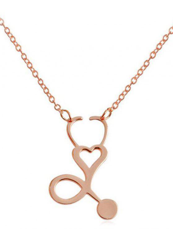 Metall aushöhlen Herz Design Anhänger Halskette - Rosé-Gold