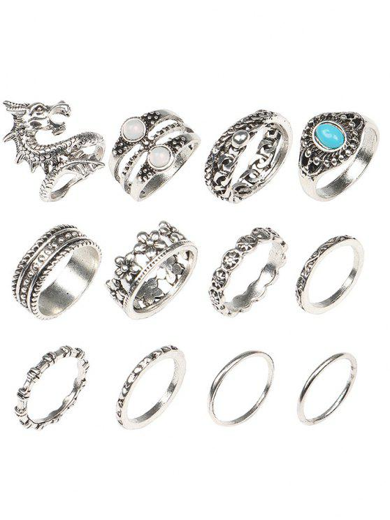 women's Faux Gem Dragon Rings Set - COLORMIX ONE-SIZE