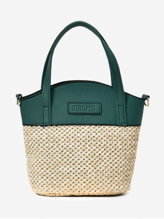Color Block Straw Tote Bag - Verde
