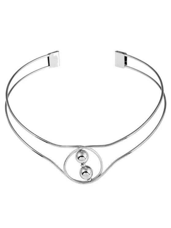 Perlen Metall-Manschettenkette - Silber