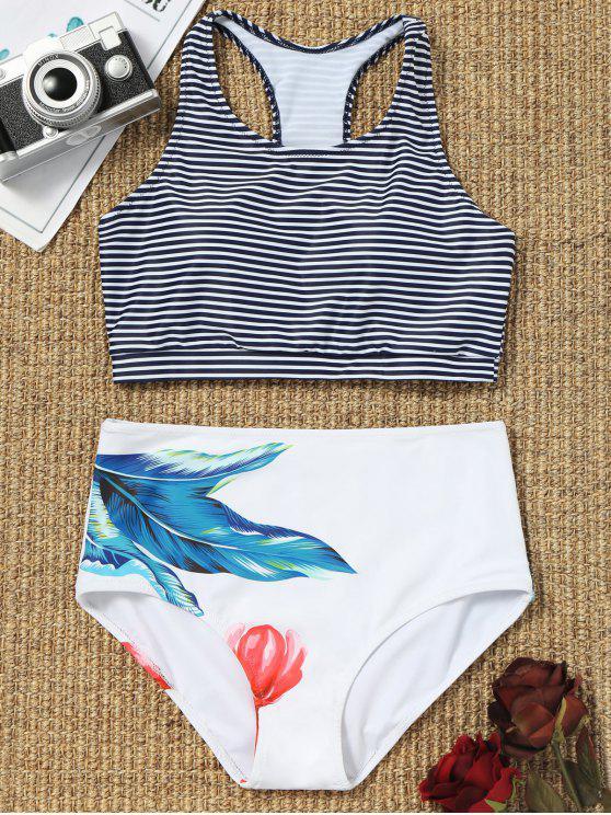 Haut de Bikini à Rayures et Slip de Taille Haute - Blanc S