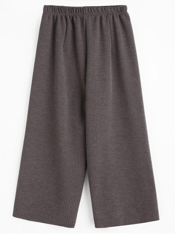 lady Cropped Wide Leg Pants - GRAY ONE SIZE