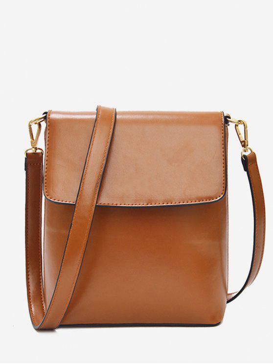 97ce89e29378 2019 Faux Leather Minimalist Flap Crossbody Bag In LIGHT BROWN