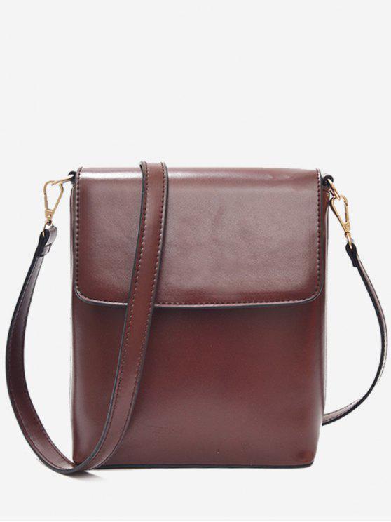 2019 Faux Leather Minimalist Flap Crossbody Bag In DEEP BROWN   ZAFUL 12152c6c0b