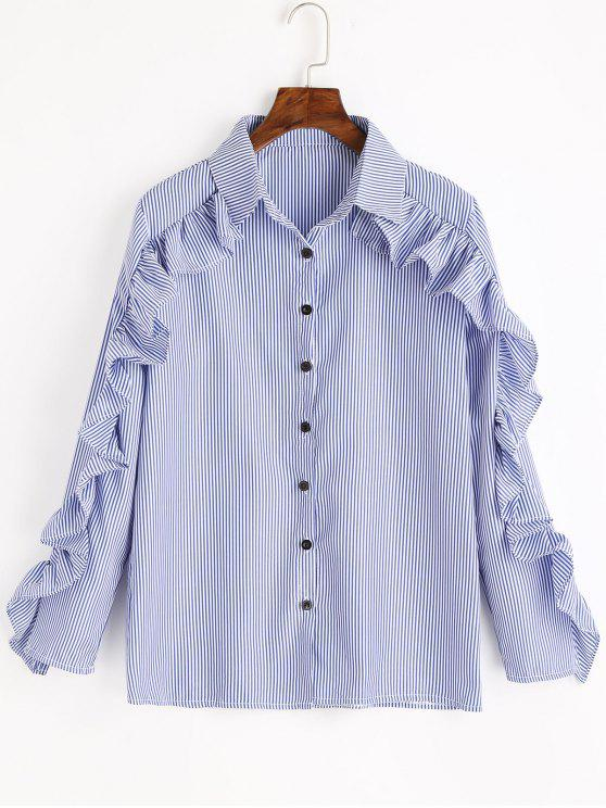 trendy Ruffles Striped Button Up Shirt - BLUE ONE SIZE