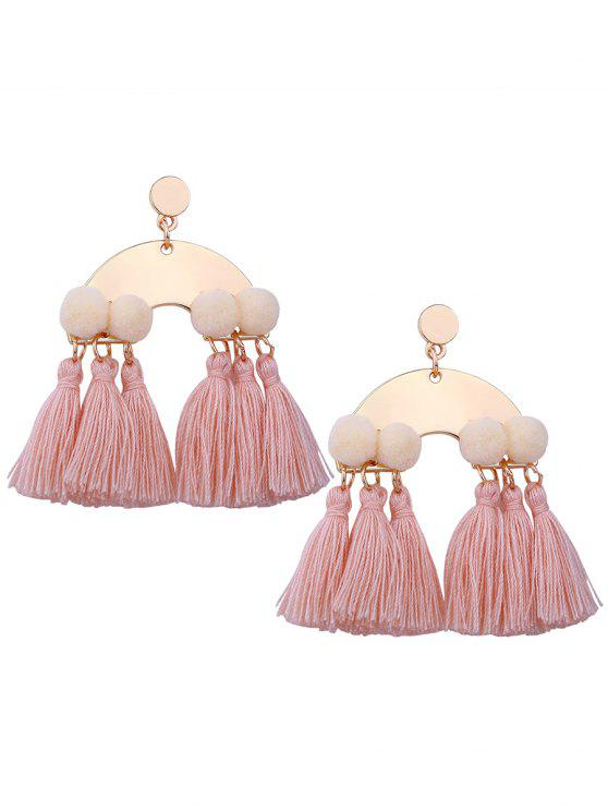 Alloy Fuzzy Ball Tassel Disco Earrings - Rosa Luz