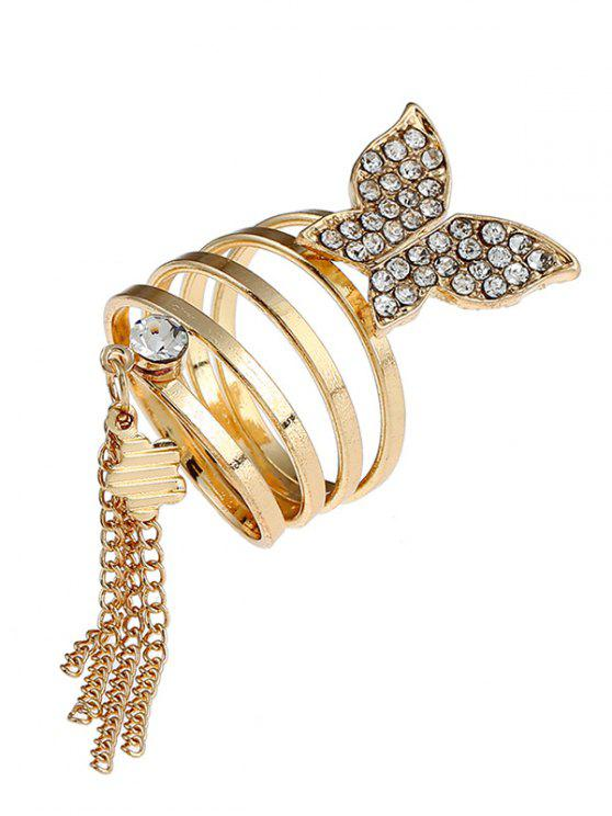 Rhinestone Floral Butterfly Fringed Charm Ring - Dourado
