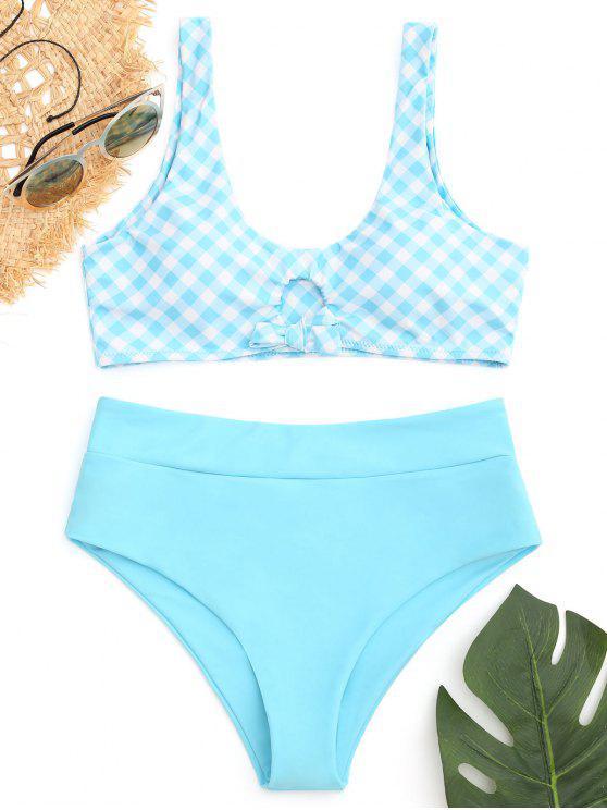 Bikini Legato A Quadri A Vita Alta - Blu Lago S