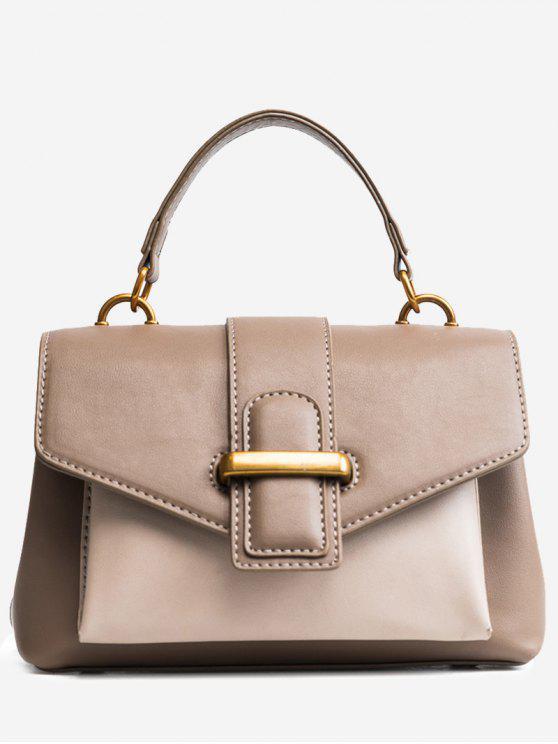 حقيبة يد من الجلد المزيف بلون جامد - كاكي