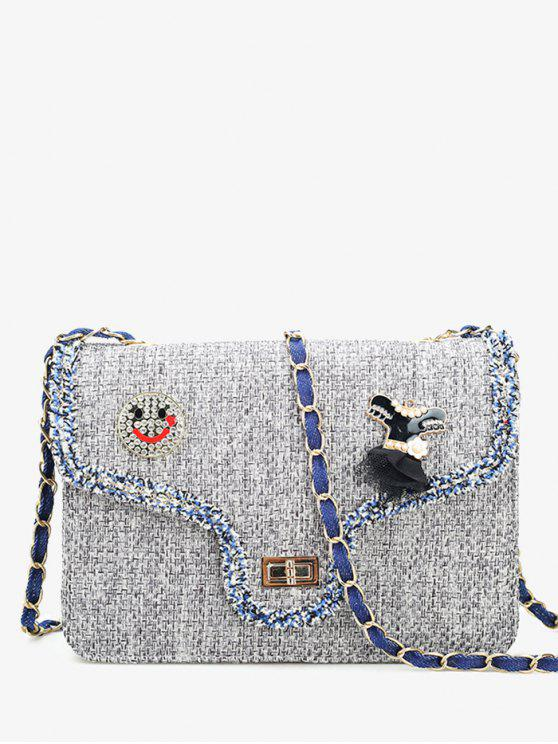trendy Twist-lock Embellished Crossbody Bag - GRAY