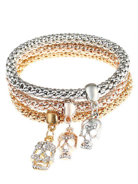 Bracelets à breloques ornées de strass décorés de crâne - Multicolore