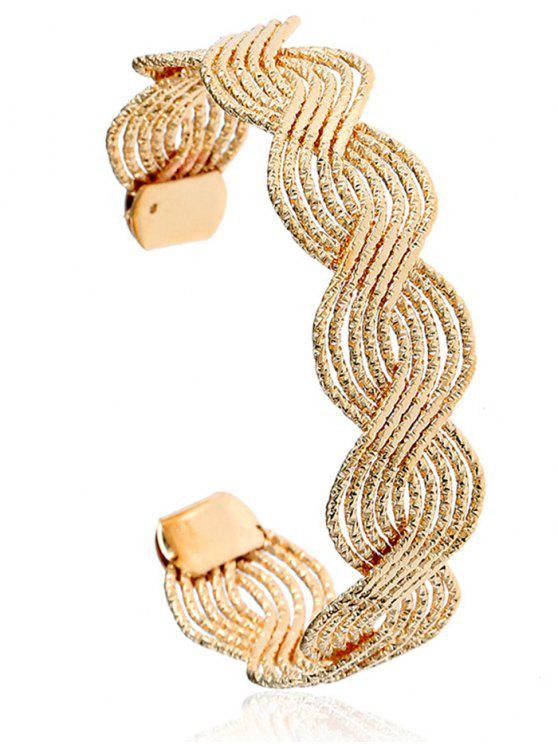 chic Twist Hollow Out Cuff Bracelet - GOLDEN