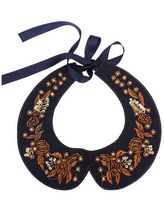 womens Rhinestone Leaf Embroidery Fake Collar Necklace - BROWN