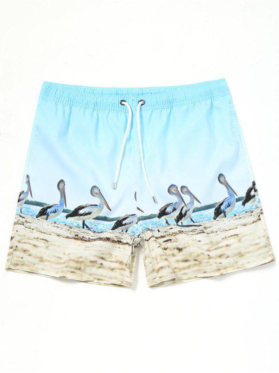 fancy Drawstring Pelican Print Swimming Trunks - AZURE XL