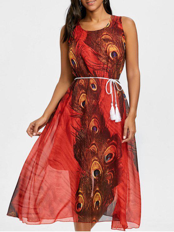 شرابة مربوط الطاووس الريشة طباعة الشيفون اللباس - أحمر L