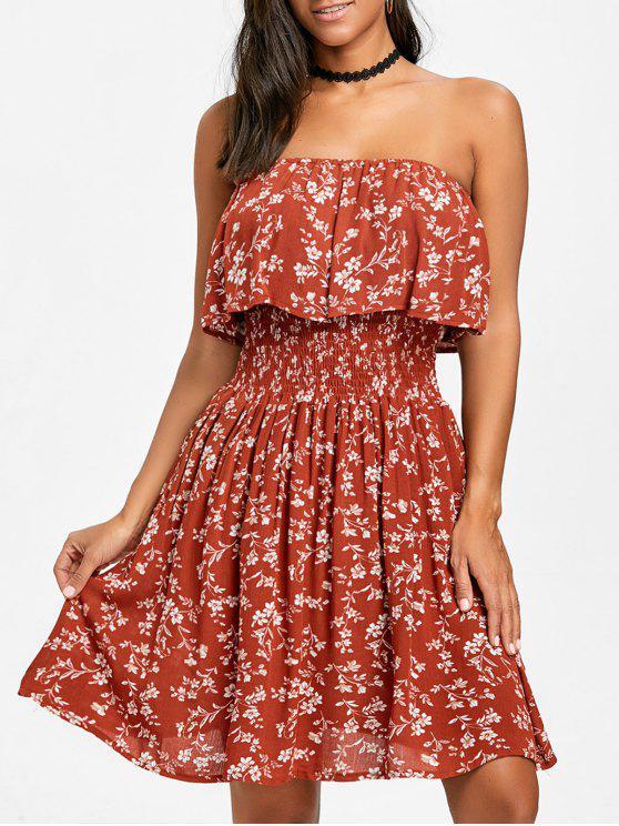 1e9752868 Mini vestido sin tirantes estampado floral minúsculo - Rojo ladrillo XL