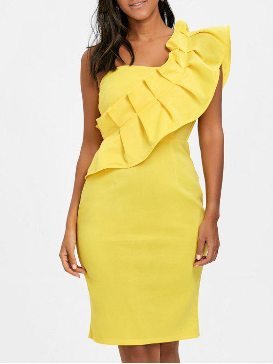 a3c3ccadadf0 35% OFF  2019 Ruffle One Shoulder Back Slit Bodycon Dress In YELLOW ...
