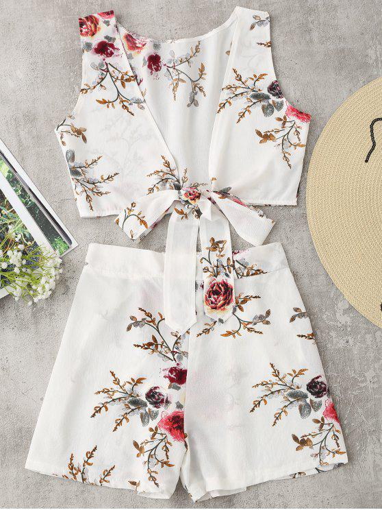 unique Tied Floral Crop Top and Shorts Set - WHITE XL