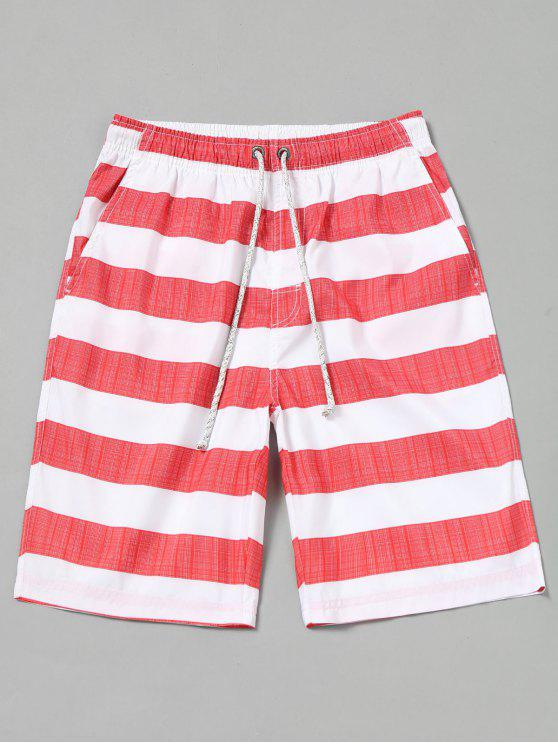 online Striped Board Shorts - RED WITH WHITE M