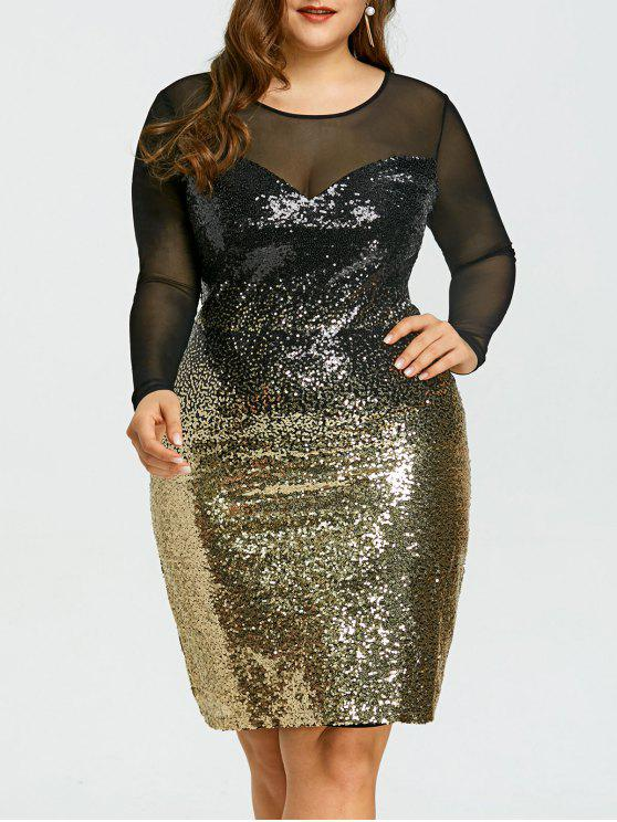 28% OFF] 2019 Plus Size Mesh Insert Sequins Party Dress In COLORMIX ...