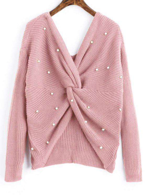 outfits V Neck Twist Pearly Sweater - PINK ONE SIZE