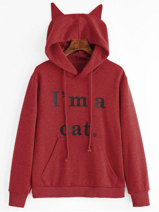 hot Front Pocket Letter Graphic Cat Hoodie - DEEP RED M