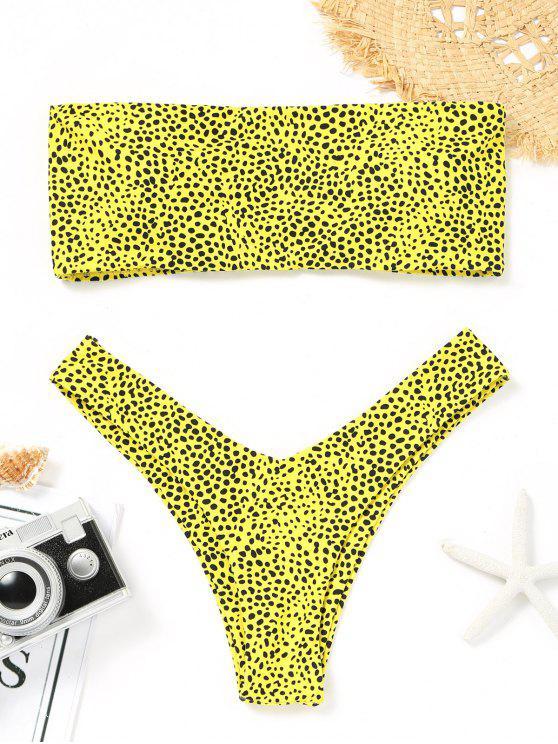 Bikini de tanga con estampado de leopardo Bandeau - Amarillo M