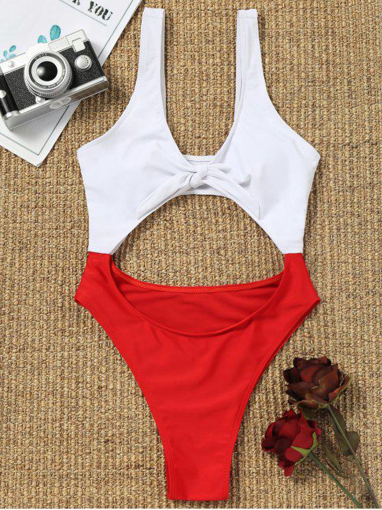 chic Cut Out Two Tone High Cut Swimwear - RED WITH WHITE M