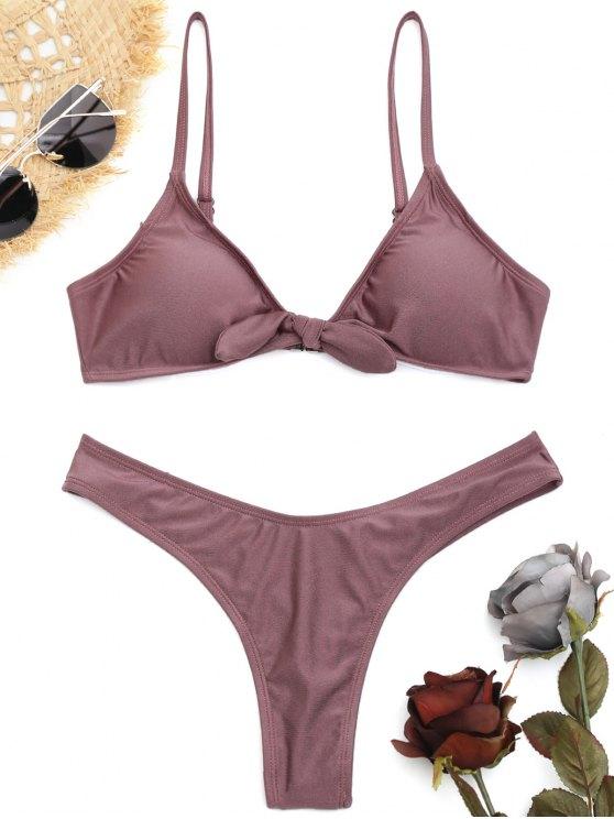 High Cut Knot Thong Bikini Set PURPLE: Bikinis M | ZAFUL