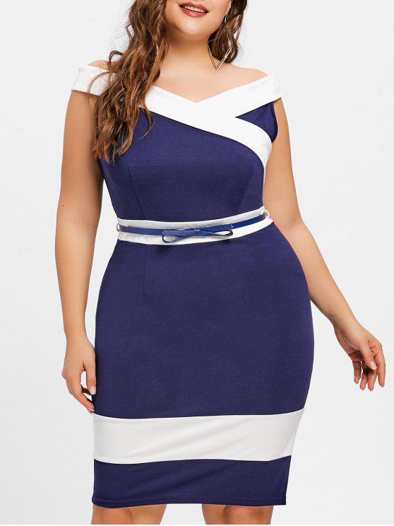 Plus Size Cap Sleeve Color Block Work Dress
