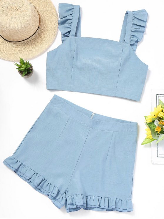 outfits Back Tied Ruffle Top and High Waisted Shorts Set - LIGHT BLUE L