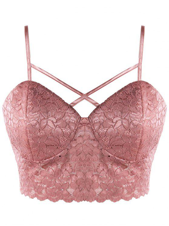 online Plus Size Lace Camisole with Front Cross - PINK 2XL