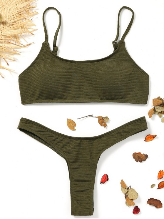 chic High Cut Thong Bikini - ARMY GREEN L