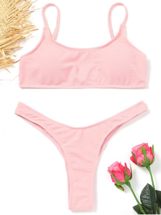 trendy High Cut Thong Bikini - PINK M