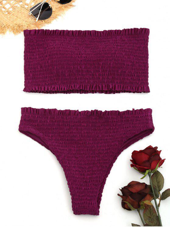 chic Smocked Frilled Bandeau Bikini Set - PURPLISH RED M