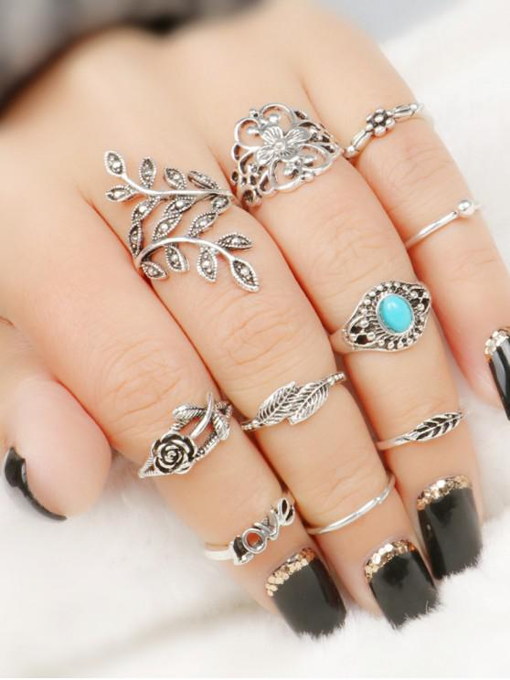 affordable 10 Pcs  Valentine's Day Leaf Flower Series Rings - COLORMIX
