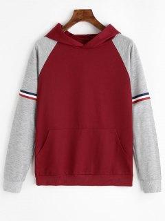 Striped Raglan Sleeve Kangaroo Hoodie - Deep Red L