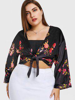 Floral Plus Size Velvet Wrap Top - Black 4xl